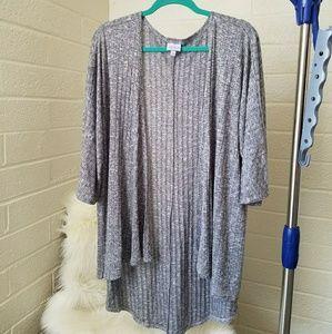 LuLaRoe Lindsey Kimono Light Grey Ribbed M